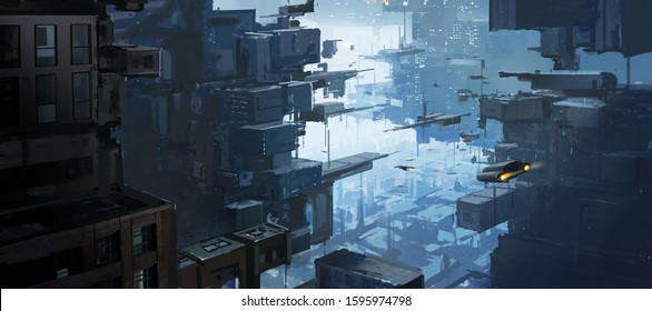 Multi-dimensional urban space, exotic concepts, digital painting.