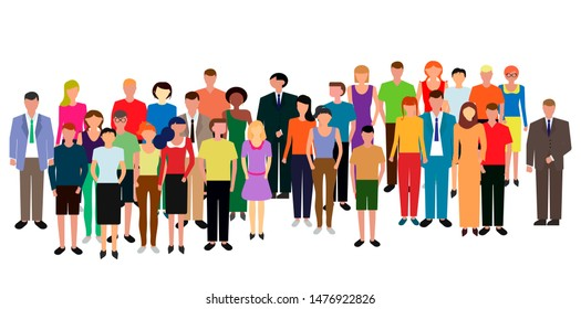 Multiethnic group of people standing together, community and togetherness concept.