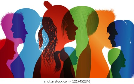 Multi-ethnic people. Colored profile silhouette. Group of people. Multiple exposure