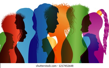 Multi-ethnic people. Colored profile silhouette. Group of people of different nationalities. Multiple exposure