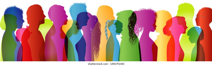 Multi-ethnic people. Dialogue between a large group of people. Talking crowd. Colored silhouette profiles. Many people talking. Speak. To communicate. Social network. Communication