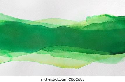 Multilayer watercolor, green horizontal strip for design