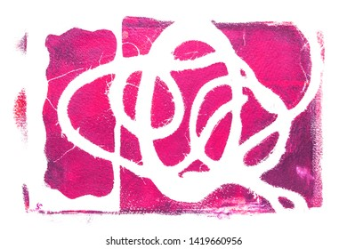 Multilayered abstract acrylic design on watercolour paper background made with various textures in red-magenta tones