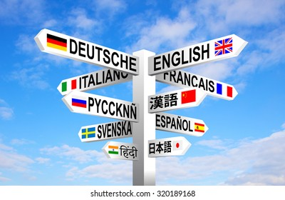 Multilingual languages and flags sign post against blue sky