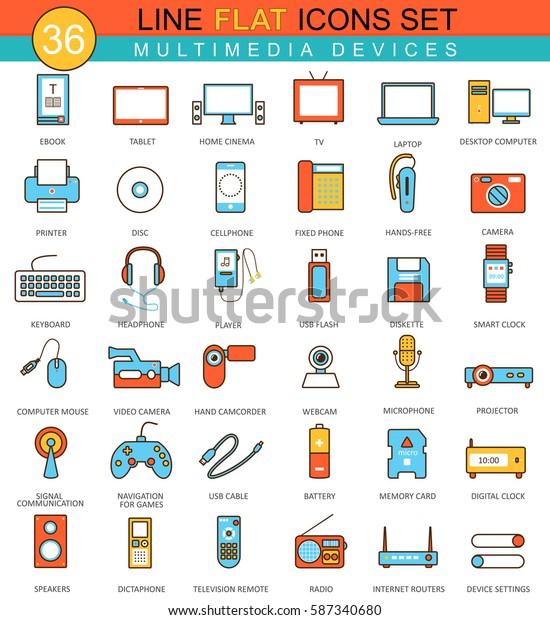 Multimedia devices  flat line icon set. Modern elegant style design for web.