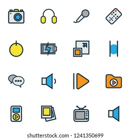 Multimedia icons colored line set with dossier, pause, gallery and other maximize elements. Isolated  illustration multimedia icons.