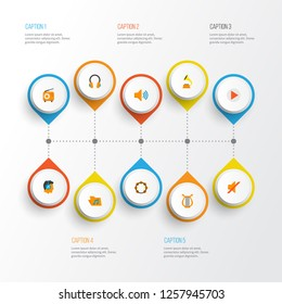 Multimedia icons flat style set with listen, voice, philharmonic and other quiet elements. Isolated  illustration multimedia icons.