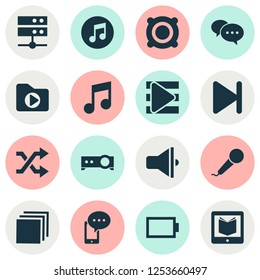 Multimedia icons set with speaker, playlist, shuffle and other randomize elements. Isolated  illustration multimedia icons.