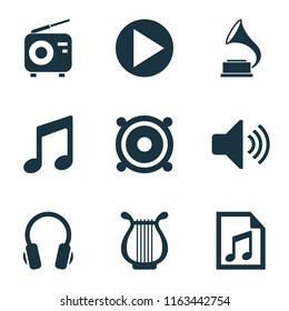 Multimedia icons set with volume, playlist, radio and other megaphone elements. Isolated  illustration multimedia icons.