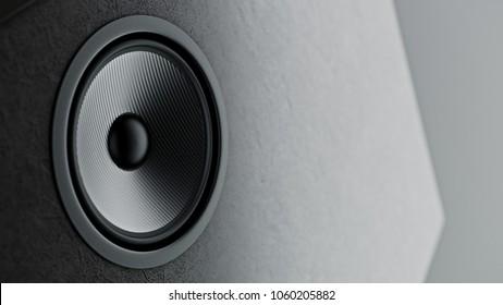 Multimedia kevlar speaker system with different speakers closeup over black background. 3d render