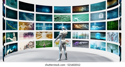 Multimedia Technology Concept for Digital Video Content Streaming 3d Render