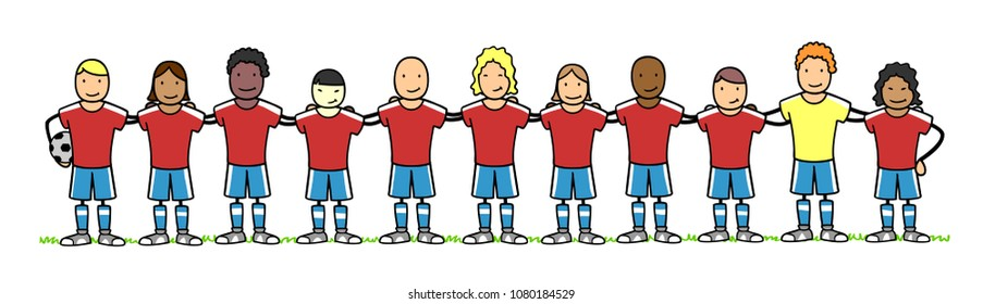 Multinational and interracial cartoon football and soccer team as a group in a pre match photo lineup