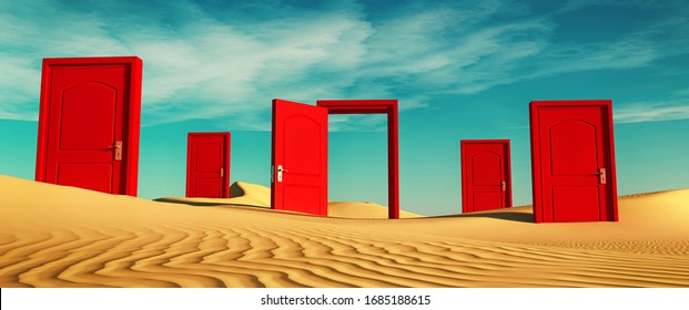 Multiple closed doors in the desert with one open . This is a 3d render illustration .