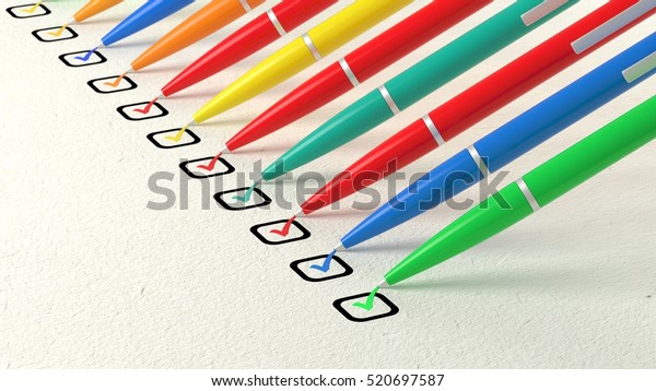 Multiple colored ball pens crossing off items from a checklist on white paper diversity concept 3D illustration