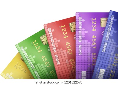 Multiple credit cards arranged in a beautiful way symbolizing business context.