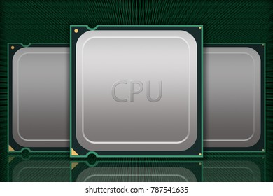 Multiple Generic CPU Chips Moving Data - Labeled - Illustration depicting multiple generic CPU packages with reflections through moving data on black background.