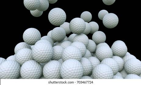 Multiple golf balls falling down against black background. 3D rendering