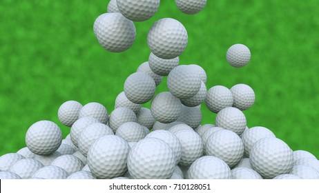 Multiple golf balls falling down against green grass background, 3D rendering