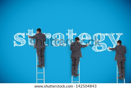 Multiple image of businessman writing strategy on a giant blue wall