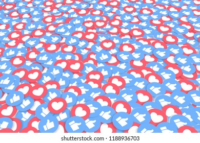 Multiple Like and Love Symbols, Thumbs Up, Hearts, Blue, Red, White, Printed on Carton Paper, Perspective View, Social Media, Popular, Medium Size