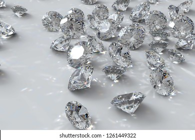 Multiple loose diamonds scattered on white background. 3D illustration