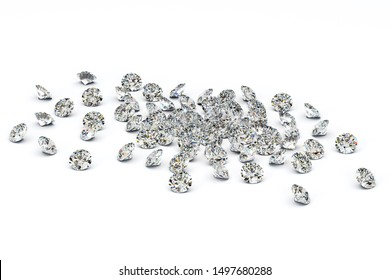 Multiple round cut diamonds scattered on white background. 3d illustration