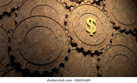 Multiple rusty gears on different layers with one in the spotlight showing a dollar symbol american economy business concept 3D illustration