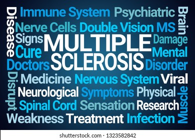 Multiple Sclerosis Word Cloud on Blue Background