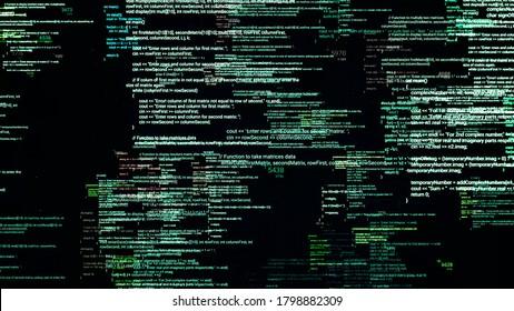 Plusieurs codes source dans le cyberespace matriciel. Animation. Modification et chevauchement des codes source du logiciel sur fond noir. Langage d'encodage de la matrice. Concept de programmation