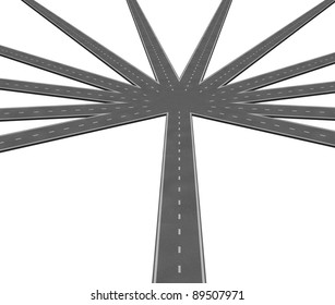 Multiple strategies and business options symbol represented by a central road leading to multiple radiating roads representing the different options available for deciiding on what route to take.
