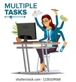 Multiple Tasks Business Woman. Many Hands Doing Tasks. Professional Occupation. Flat Cartoon Illustration