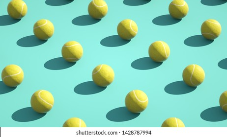 Multiple tennis ball on a colored background - 3d illumination