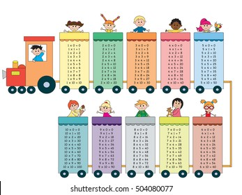 multiplication tables with happy children