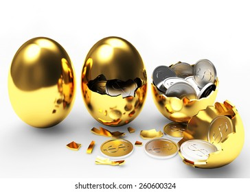 Multiplying money concept. Silver coins hatching from golden eggs process isolated on a white background