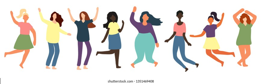 Multiracial women of different figure type and size dressed in comfort wear standing in row. Female cartoon characters. Body positive movement and beauty diversity.