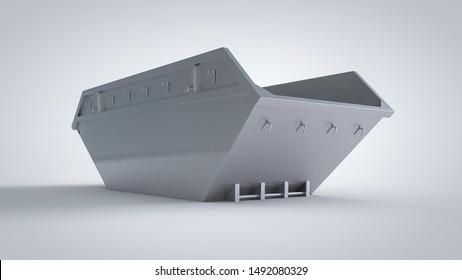 Multi-stack skips (dumpster) for municipal waste or industrial waste management, Aluminum 3D rendering, mockup for graphic designers presentations and portfolios.