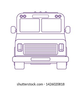 Multi-stop truck. Walk-in delivery or step van. line art illustration. Front view. Food mobile shop.