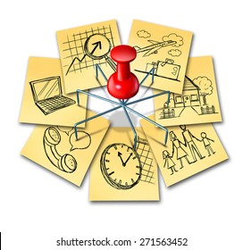 Multitasking concept and multipurpose perform symbol icon as a group of office notes with different life responsibilities as family and work obligations connected by a multipronged thumb tack pin.