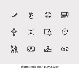 Multitasking icons set. Exercise and multitasking icons with work smarter, result oriented and start from scratch. Set of algorithm for web app logo UI design.