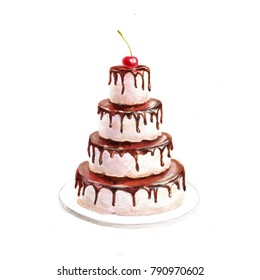 Multi-tiered cake with chocolate icing and a cherry on top. Watercolor and colour pencils illustration
