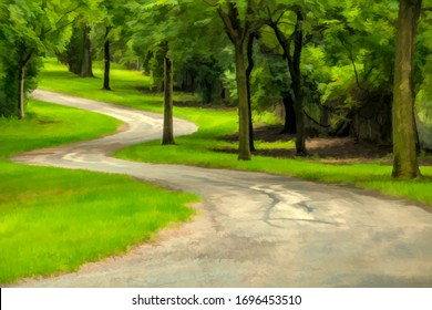 Multiuse asphalt trail winding through green suburban park in summer, northern Illinois, USA, with digital oil-painting effect, for themes of recreation and escapism
