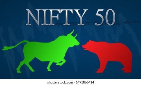 Mumbai - AUG 2019: A standoff between the market's bulls and bears in the stock market index NIFTY 50, National Stock Exchange of India. A green bull versus a red bear with a blue background.