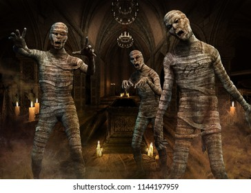 Mummies scene 3D illustration