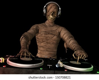A mummy DJ is in the House and mixing up some Halloween horror.  Turntables with vinyl albums.  Isolated black background.