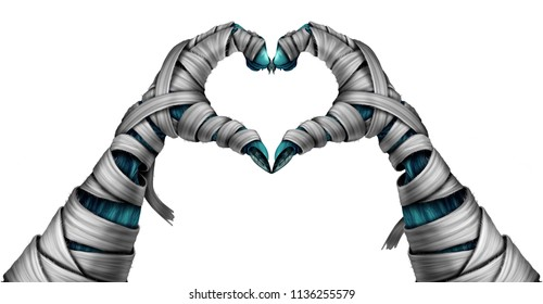 Mummy hand heart shape as a halloween creepy night graveyard creature or dead corpse character with arms emerging from a cemetary gravein a 3D illustration style.