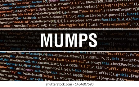 MUMPS concept with Random Parts of Program Code. MUMPS with Programming code abstract technology background of software developer and Computer script. MUMPS Background concept