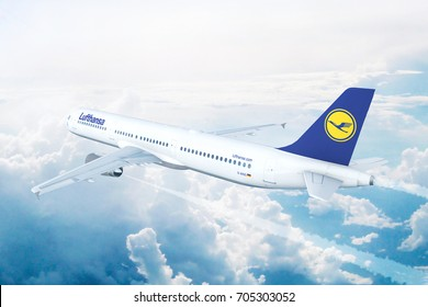 MUNICH, GERMANY - AUGUST 17: Lufthansa Airbus A321 on approach to runway at the airport of Munich, Germany. 3D Illustration.
