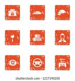 Municipal economy icons set. Grunge set of 9 municipal economy icons for web isolated on white background