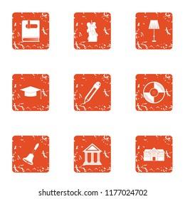 Municipality icons set. Grunge set of 9 municipality icons for web isolated on white background