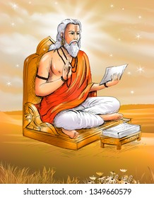 Munivar – Image of an Indian Rishi seated on a chair, reading out from sacred texts and blessing with wisdom